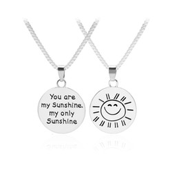 Wholesale Silver Smile Charms - You Are My Sunshine My Only Sunshin Double Side Disc Letter Engraved Sun Smile Face Pendant Inspirational Necklace Loves Gift