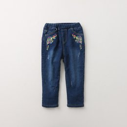 Wholesale Korean Girl Jeans - Everweekend Kids Girls New Western Korean Embroidery Flowers Casual Denim Pants Baby Trousers Fashion Pockets Jeans