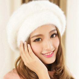 Wholesale Artist Rabbit - Wholesale-Fashion Winter Knitted Hat for Women Men Cap Soft Rabbit fur Hats Mink Cashmere Berets Hat Leisure Artist Solid Feminino Boina