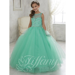 Wholesale Ruffle Girls Shirt - 2017 Cute Mint Green Little Girls Pageant Dresses Tulle Sheer Crew Neck Beaded Crystals Corset Back Flower Girls Birthday Princess Dresses