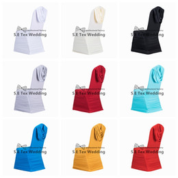 Wholesale Cover Swag - Pleated Lycra Spandex Chair Cover Back With Swag Drape For Wedding And Event Decoration Free Shipping