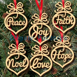 Wholesale wooden stand christmas decorations - Christmas letter wood Heart Bubble pattern Ornament Christmas Tree Decorations Home Festival Ornaments Hanging Gift, 6 pc per bag