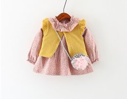 Wholesale Baby Waistcoat Outfit - Girls Floral Dresses+Knit Waistcoats Set 2017 Fall Kids Boutique Clothing Korean Fashion Baby Girls Long Sleeves Dresses Outfits with Bag
