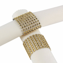 Wholesale Tables Chairs For Wholesale - Wholesale- 100pcs Gold Silver Rhinestone Napkin Rings for Wedding Decoration Plastic Chair Sash Bows Napkin Holders Table Deco Accessories