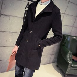 Wholesale Korean slim fit Casual mens long army green trench coat xl Black grey navy blue wine red Woolen