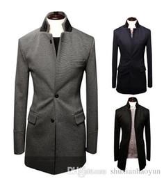 Wholesale Tweed Trench Men - Nice Winter Fashion Wool Parkas Men Comfortable Soft Long Coat Male Zipper Placket Slim Fit Mens Trench Coat Size M-XXL