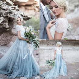Wholesale Short Vintage Lace Wedding Dresses - 2017 Fairy Beach Boho Lace Wedding Dresses High-Neck A Line Soft Tulle Cap Sleeves Backless Light Blue Skirts Plus Size Bohemian Bridal Gown