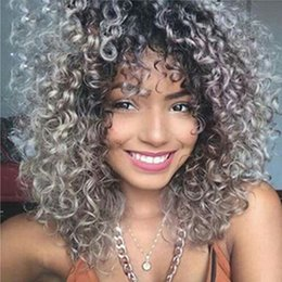 Wholesale Black Pixie Wig - Pixie Cut Wigs Synthetic Hair Women Ombre Short Black Grey Natural None Lace Wigs Kinky Curly Fashion Afro Americain In Stock
