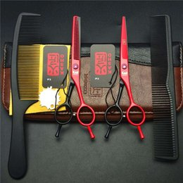 Wholesale Hair Thinner Scissors Hot - Hot Sale Set 5.5 Inch Red Japan Kasho Professional Human Hair Scissors Hairdressing Cutting Shears + Thinning Scissors + Combs H1012