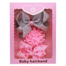 Wholesale Hair Packing Box - Baby Headbands Bow Korean 3pcs Set Box Pack Girls Elastic Grosgrain Ribbon Bow Hairbands Kids Boutique Dot Stripe Hair Accessories KHA568