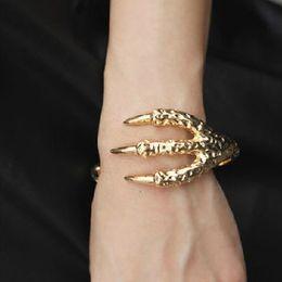 Wholesale Dragon Claw Bangle - Wholesale-2016 New Mens Vintage Punk Bracelet Rock Dragon Claw Bracelets Bangles Gift Pulseras Men Jewelry Color Gold Silver YK2040