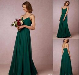 Wholesale Custom Flowing - Cheap 2017 Dark Green Flow Chiffon Bridesmaid Dresses Spaghetti Straps Bohemian Maid Of Honor Gowns For Country Holiday Evening Dress BA4350
