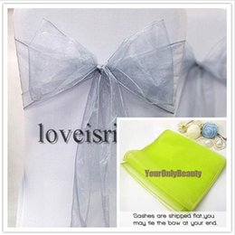 "Wholesale Wedding Banquet Chair Covers Sale - 50pcs Silver color 8"" (20cm) W x 108"" (275cm) L Wedding Favor Sheer Organza Chair Covers Sashes Ribbons Bow Party Banquet Event--Hot Sale"