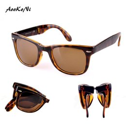 Wholesale Matte Black Frame Glasses - AOOKONI AK4105 Fold Classical Sunglasses 601 601s shiny Matte Black 710 Tortoise frame G15 Green Brown lens man women Folding Sun Glasses