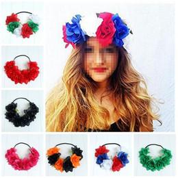 Wholesale Halloween Accesories - Euorpean Style Flower Headband Elastic Hair Band Women Girls Headwear Hair Accesories Halloween Party Favor