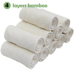 Wholesale Natural Bamboo Diapers - 30pcs lot Small wholesael 4layers natural bamboo terry towel reusable pocket baby cloth diaper insert bamboo