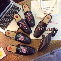 embroidery flat shoes Promotion Mousses Casual Women Shoes Chaussures Slip On Sexy Street Style Ladies broder Chaussures Femme Summer Slippers