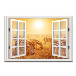 Wholesale Zebra Home Decor - 3D Window Landscape Gold Scenery Canvas Painting Zebra Photo Canvas Art Home Wall Decor one Pieces Unframed (60cmx90cmx1pcs)