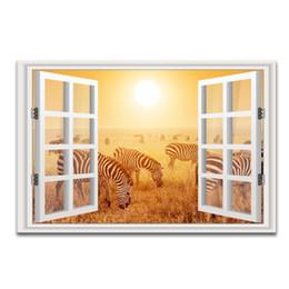 Wholesale 3d Wall Painting Art - 3D Window Landscape Gold Scenery Canvas Painting Zebra Photo Canvas Art Home Wall Decor one Pieces Unframed (60cmx90cmx1pcs)