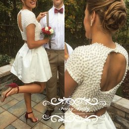 Wholesale Photo Cropping - Exquisite Pearls 2017 Two Piece Homecoming Dresses With Short Sleeves Open Back White Satin Girls Junior Crop Top Dress Party Prom Gown