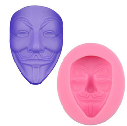 Wholesale Decorating Masks - Vendetta V Mask Silicone Fondant Cake Mold Soap Candle Mold Chocolate Candy Mould Moulds DIY Decorating Baking Pink Kitchen Tools