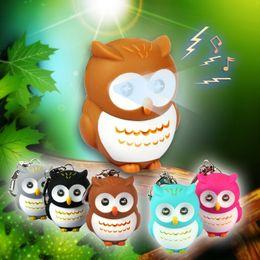 Wholesale Owl Flashlight - Cute 3D LED Cartoon Animal Owl Key Chain Sound Flashlight Keyring For Women Bag Phone Decor Fashion Jewelry