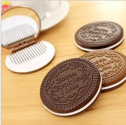 Wholesale Style Compact Mirrors - Mini Cute Cocoa Cookies compact mirror pocket portable hand mirror with Comb Makeup Tools 2 colors i like