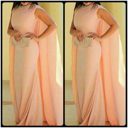 Wholesale Best Hot Chocolate - Best Selling Evening Dresses 2017 Hot Sale Elegant Pink Matter Chiffon Celebrity Dress Prom Gowns with Cape Back