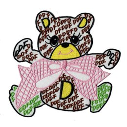 Wholesale wholesale bear patches - Cute Bear Bowknot Embroidery Iron On  Sew On Patch 11.5cm Cartoon Jersey Patch Applique DIY Clothing Emblem Free Shipping