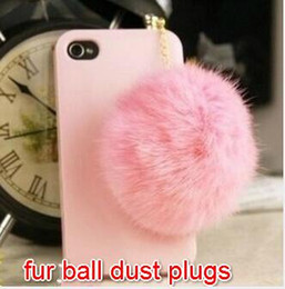 Wholesale Crystal Ball Dust Cap - Free Ship 20pcs 3.5mm Headset Jack Large Crystal Korea Fur Ball Earphone Jack Plug Earphone Cap Anti Dust Plug Keychain for iPhone Cell Phon