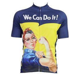 vetement velo bleu femme Promotion 2019 caricature de femme nous pouvons le faire cyclisme maillot manches courtes bleu drôle chemise de cyclisme jaune usure de vélo nous pouvons le faire vêtements de vélo
