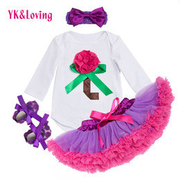 Wholesale Tutu Shoes For Babies - Retail Newborn Long sleeve Cotton Bodysuit Ruffle Lace Girls Tutu Skirt for Newborn Baby Lolita Shoes Children Wear Clothes YK&Loving F5028