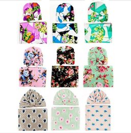 Wholesale Infant Sleep Caps - INS Infant Baby Swaddle Sack Baby Girl Rose Flower Blanket Newborn Baby Soft Cotton Cocoon Sleep Sack With Knot Headband Cap Hats Set