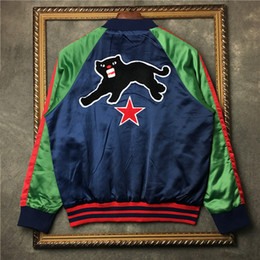Wholesale Men Star Jacket - best winter famous designer luxury brand tag for men red green patchwork animal cat star embroid jackets baseball coat clothing Outerwear
