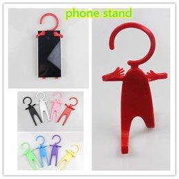 Wholesale Cute Cell Phone Stands - Cute Human Shape universal phone stand Hanger Cell Phone stands wholesalers creative 8 colors flexible stand for phone zpg228