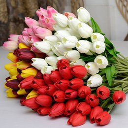 Wholesale Latex Real Touch Flowers Wholesale - Wholesale-Pretty Latex Real Touch Artificial Silk Tulip Flower Wedding Bouquet Home Decor 6QDR