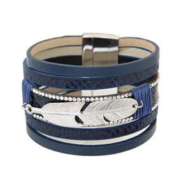 Wholesale Multilayer Bracelet Men - Bohemian Retro Rhinestone Alloy Feather Multilayer Leather Bracelet Boho Magnetic Tassel Bracelet Women Wrap Charm Bracelets Bangle Men
