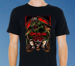 Wholesale Movie Poster Printing - GREMLINS vintage classic Movie Poster Art Mens T-Shirt Black Size: S-to-XXXL
