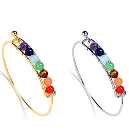 Wholesale Tiger Eye Stone Agate - Fashion Women Bangles 7 Chakra Women Reiki Spiritual Yoga Jewelry Natural Energy Stone Amethyst Agate Tiger Eye Beads open copper Bracelet
