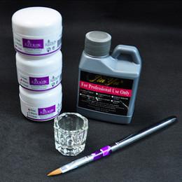 Wholesale Kit Decoration Nails Acrylic - Tools Sets Kits Acrylic Powder Kits Tools Set DIY Decoration Set Nail Brush Holder + Nail Wash Water + Crystal