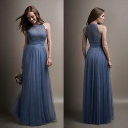 Wholesale Ocean Dresses - 2017 Ocean Blue Lace Bridesmaid Dresses Sheer Jewel Neck Chiffon Long Formal Bridesmaids Formal Maid Of Honor Wedding Guest Dresses