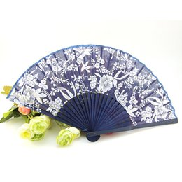 Wholesale Folding Hand Fans Cloth - Orchid Pattern Folding Fan Silk Cloth Bamboo Printed Fans Brim Lady Chinese Hand Fan Wedding Party Favor Classical Style Design