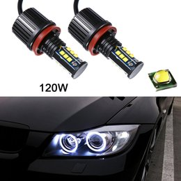 Wholesale Halo Lights - 2pcs 8000LM 120W Super White H8 Angel Eyes Halo Ring Light Bulbs Xenon LED For BMW CLT_60D