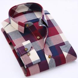 Wholesale Mens Autumn Plaid Shirt - Wholesale- Autumn Men Shirts 2016 Long Sleeve Mens Casual Shirts Cotton Plaid Shirt Men Flannel Warm Mens Check Shirt Plus Size Slim Fit