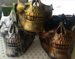 Wholesale Skull Plastic Resin - Skull Mask Jaw Horror Half Face Shied Terror Masks Plastic Human Skull Skeleton Mask for Halloween Outdoor Party H778