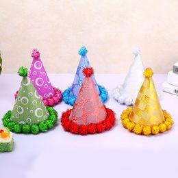 Wholesale Hair Ball Cap - Santa hat 2017 children's party birthday triangle cap handmade hair ball cap decoration props wholesale free shipping