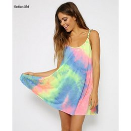 Wholesale Tie Dyed Dresses For Women - Wholesale-Summer Tie Dye long Camisole for Women Spaghetti Strap Top Sexy Sleeveless Camiseta Dress Long Camisoles Blusa De Alcinha 4S