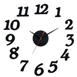 Wholesale Modern Style Interior - Wholesale-2015 Free Shipping DIY Self Wall Clock Adhesive Decal Modern Wall Digit Room Interior Decoration high quality