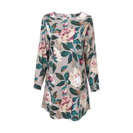 Wholesale used shirt - Ladies Elegant Floral Print Blouse Flower Shirts Dual-Use Sleeve Head Cotton Linen Shirt Dress Plus Size Blusa Mujer