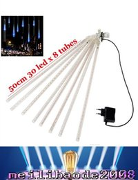 luci meteorite blu Sconti NEW Blue / White / RGB 50CM Meteor Shower Rain Tubes Luci LED 240-LED Meteor Shower Luci a tubo pioggia Outdoor Tree Decoration MYY